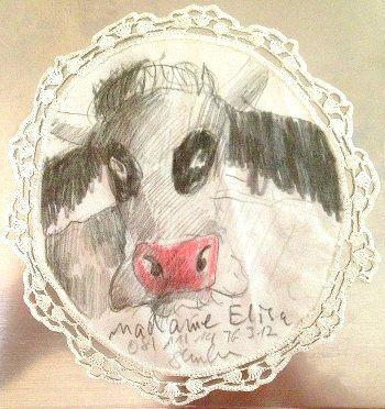 Madam Elisa: Zeichnung einer Kuh auf einem Spitzendeckchen!
